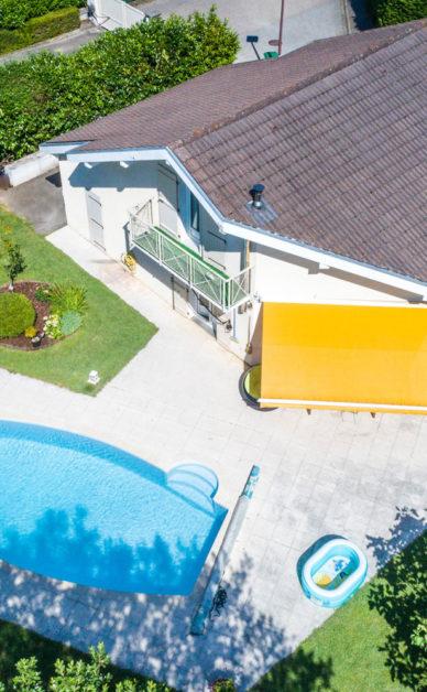bien immobilier Drone Léman : Présentation d'un bien immobilier avec piscine