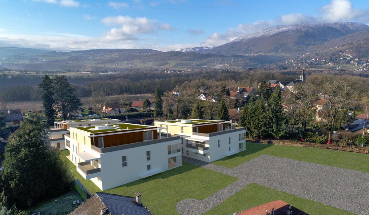 Insertion 3D de projet immobilier sur photographie aérienne