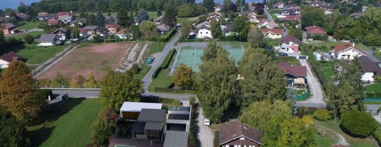 Insertion 3D de projet immobilier sur photographie aérienne, Insertion of 3D project